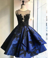 Wholesale Coctail Gowns - New Dark Blue Pleat Short Evening Dresses Sexy Backless Appliques Coctail Dress Sleeveless O-Neck Prom Gowns Robe de soiree