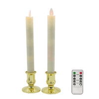 Wholesale Decoration Flame Light - LED Candles, 2pcs lot Dancing Flame Taper Candle Lights Moving Wick by Remote Control RC, for Christmas Decoration Wedding Decor