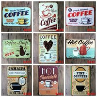 Wholesale retro metal painting coffee wall art coffee metal sign for coffee shop wall decoration x20cm