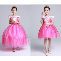 Wholesale Sleeping Beauty Dresses For Girls - Girls fairy tale princess lace dress Aurora princess ball gown kids Sleeping Beauty cosplay performance party costume for 2-7T