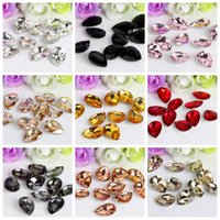 Wholesale Crystal Drop Loose Beads - Wholesale 8*13mm Crystal Drop Rhinestone Glass Gems Crystal Stones Sew On Crafts Decorations DIY Rhinestone Loose Beads