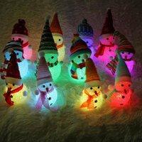 Wholesale Colorful Christmas Snowman Lamp - Christmas Snowman Night Light Colorful LED Lights Lamp Santa Claus Pendants Home Party Decor Kids Gift OOA3288