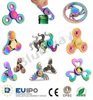 Wholesale CE Rohs CPSC Rainbow Hand Spinner Titanium Alloy Fidget Spinners Metal LED Fingertips Spiral Fingers Gyro Torqbar Fidget Toys Fast Shipping