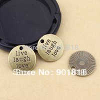 En gros 10pcs / bag bronze antique vivent / amour / rire charmes de mot 19mm F511