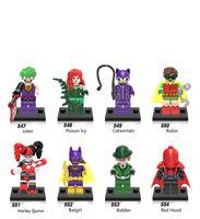 Wholesale Robin Hood - DHL 60Set Super Heroes Batman Joker Riddler Catwoman Red Hood Robin Harley Quinn Batgirl Building Blocks Toys for children X0152