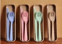 Wholesale Chopsticks Portable - Fashionable wheat elements tableware suit portable chopsticks fork spoon three - piece travel l environmental protection tablew