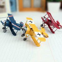 Wholesale Metal Model Fighter Plane - Plane Models Handmade Metal Crafts Vintage Plane Retro First World War Fighter Moldels Handmade Arts Childrens Room Decor Contemporary Decor