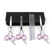 DHL EMS Dog Grooming Forbici Kit Curved Scissor Set Perfetto per Pet Grooming Curved Tesoura Puppy Cat Hair Cesoie Assottigliamento + Pettine Strumento