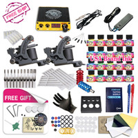 Wholesale Tattoo Kit Free Gift - Free Ship DIY 2 Tattoo Machine Complete Kit 20 Color USA Tattoo Inks Tattoo Power Supply With Free gift