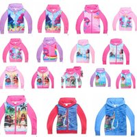 Wholesale Boys Zip Hoodies - Moana Hoodies cartoon boys girls Sweatshirts Spring Long Sleeve kids coats Trolls printing Outwear Zip Sweater Hooded KKA2406