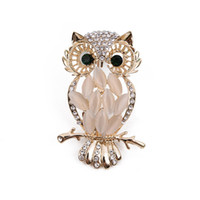 Wholesale Women Suit Wholesale China - Golden Plated Zinc Alloy Lovely Owl Bird Rhinestone Crystal Brooch Pin Jewelry Fashion Suits Accessories For Women And Men