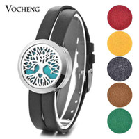 Aroma Diffuser Locket Leather Bracelet 316L Stainless Steel Tree of Life Magnet Openable sem almofadas de feltro VA-449
