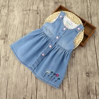 Wholesale Girls Boys Dress Clothing Wholesale - Everweekend Girls Floral Embroidered Denim Sundress Cute Baby Ruffles Button Dress Sweet Children Summer Holiday Clothes