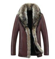 Wholesale Green Leather Sleeve Jacket - 2017 Men's Leather Jacket Faux Lambswool Leather Jacket Men Thick Raccoon Fur Collar Jaqueta Couro Masculino Plus Size 5XL
