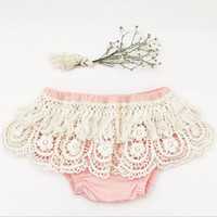 Wholesale Tassel Underwear - Lace Baby Girls Shorts New Summer Lace Tassel crochet falbala Infant Underwear Hollow Fashion Toddler PP Shorts Kids Cotton Bloomers C1321