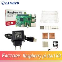 Wholesale Raspberry Case - D Raspberry Pi 3 Model B starter kit-pi 3 board   pi 3 case  EU power plug with logo Heatsinks pi3 b pi 3b with wifi & bluetooth