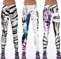 Wholesale Brown Yoga Pants - Newest Women Slimming Training Fitness Sports Dance Trousers Jogging Wild Tiger Yoga Pants Tight White Black Leopard Leggings