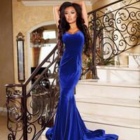 vestido de terciopelo azul hendidura larga al por mayor-Royal Blue Mermaid Velvet Vestidos de noche formales 2019 Sweetheart Tank Vestidos de noche largos y elegantes Vestidos de fiesta con abertura en la pierna vestido de festa