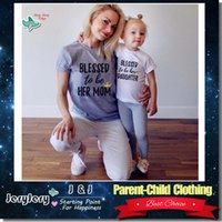 Wholesale 2017 Summer Mother And Daughter Outfits Family Matching Casual Clothes Parent Child Clothing Cotton T Shirt Beach Fashion Wear Short Sleeve