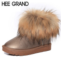 Wholesale Thick Warm Half Slips - Wholesale-HEE GRAND Brand Women's Shoes Thick Fur Fashion Snow Boots 2016 New Winter Cotton Warm Shoes For Women Ankle Boots XWX3265