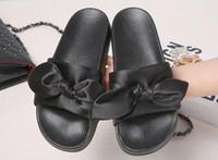 Wholesale Ladies Platform Slippers - Sweet Bowtie Women Summer Slippers New Slip On Flat Heel Flip Flops Ladies Sandals Woman Platform Women Shoes