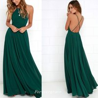 Wholesale Light Coloured Prom Dresses - Sexy Dark Green Colour Spaghetti Strap Prom Dress High Quality Backless Chiffon Women Wear Party Gown Custom Made Plus Size
