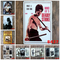 Wholesale movie tin signs wholesale - Bruce Lee Zorro Titanic Movie Vintage Craft Tin Sign Retro Metal Poster Bar Pub Signs Wall Art Sticker(Mixed designs)