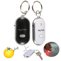 Wholesale Wholesale Whistle Keychain Finder - Anti Lost LED Key Finder Locator 4 Colors Voice Sound Whistle Control Locator Keychain Control Torch OOA2246