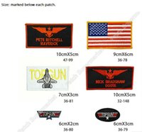 Wholesale costume gun - One Set TOP GUN Patches For Jacket Title Maverick Costume Iron On Badge Insignia Tom Cruise TV Naval Movie series Cosplay Logo