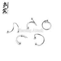 Wholesale Spiral Twister Lip Ring - Steel Ball Spiral Twister 16G Labret Lip Rings Body Piercing Jewelry