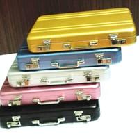 мини-карточный чемодан оптовых-Старинные Мини Алюминиевый Портфель Чемодан Бизнес Имя Кредитной Карты Держатель Чехол