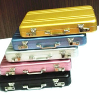 Wholesale Briefcase Metal - Vintage Mini Aluminum Briefcase Suitcase Business Name Credit Card Holder Case