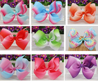 Wholesale Cartoon Ribbon Hair Clips - Ombre Grosgrain Ribbon 6'' big Hair Bows With Alliator Clips Cartoon Boutique Rainbows hairbow 6 inches bows 20pcs