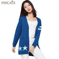 Wholesale Skull Long Knit Sweater - Wholesale-Women Cardigan Autumn Winter Skull Star Jacquard Blue Color Cashmere Blending Personality Femme Sweater Cardigans Outwear Coat