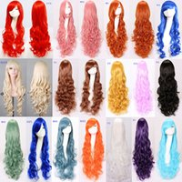 Wholesale Cheap Cosplay Costumes For Sale - Anime Cosplay Wigs DHL Free Shipping Hot Sale Multicolor Cheap Synthetic Hair Wig Cosplay 14 Colored Costume Long Straight Wigs For Party