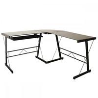 Wholesale Corner Office - L-Shape Corner Computer Desk Glass Laptop Table Workstation For Home Office