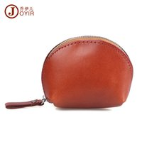 Wholesale Vegetable Tanning - Wholesale- JOYIR Genuine Leather Coin Purse Woman Men Vegetable Tanned Leather Wallet Coin Holder Shell Zipper Coin Bag Mini Purse Bag K005
