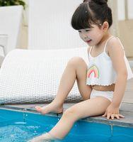 Wholesale Girls Rainbow Swimwear - Kids swimsuits rainbows printed dew shoulder suspender swimwear 2pc clothing sets for girls split swimwear baby bathing suits beachwearT4600