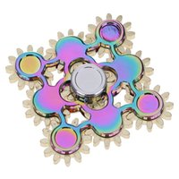 Wholesale Rainbow Nine Gear Hand Spinner Colorful Nine Gear Fidget spinner EDC Brass Handspinners For Autism and ADHD