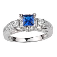Wholesale September Sapphire - Women's 925 Sterling Silver Ring 4.5x4.5mm Princess Cut Simulated Blue Sapphire CZ Luxury Jewelry September Birthstone for Girlfriend R156BS