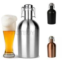 Wholesale Thermo Bottles Wholesale - Stainless Steel Beer Growler 64 oz Swing Top Hip Flask Beer Bottle Ultimate Growler 1.9 L Botella Thermo Bottle #4146