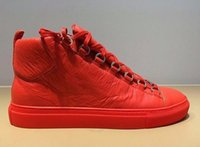Wholesale Big Savings - Wholesale -Brand Quality Leather High Top Sneakers Fashion and Streetwear Arena Shoes Big Saving Up 36-46 orange red high top sneaker shoes
