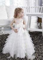 Wholesale Tailored Girls Dresses - A-line Appliques Beading Floor-length Tulle Satin Flower Girls' Dress Tailored Fit Dresses