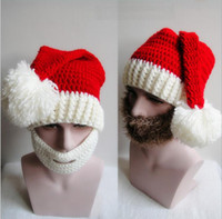 Wholesale wool mens knit hat - 2016 New Fashion Funny Handmade Winter Mens Christmas Santa Claus Knit Hats With Moustache Masks For Christmas Party Gifts in stock