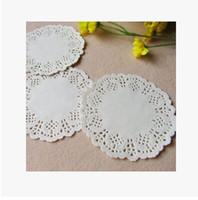 Wholesale paper round lace resale online - quot mm White Round Lace Paper Doilies Doyleys Vintage Coasters Placemat Craft Wedding Christmas Table Decoration