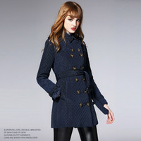Wholesale Name Brand Winter Coats - 2016 winter new style lapel diamond lattice long coat jacket large size thickening high-end name brand