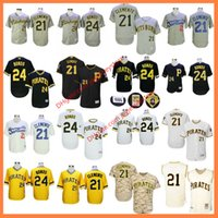 Wholesale Roberto Clemente Jersey Barry Bonds Flexbase Santurce Crabbers Cooperstown Grey Pinstripe Yellow Camo Grey Pittsburgh Pirates Jerseys