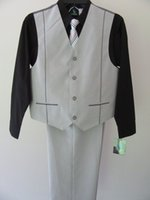 NWT Young Kings Boy 4pc Anzug 14 Black Shirt-Tie-Vest-Beige Hosen Outfit Set