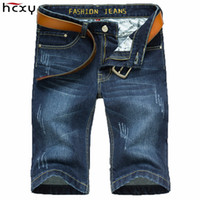 Wholesale Mens Blue Dress Pants - Wholesale-summer dress Light weight Mens Denim Jean Shorts Blue Plus Size Short Jeans for Men Summer Mens Short denim Trouser