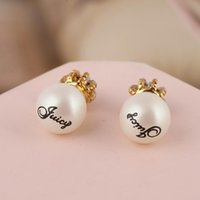 Wholesale Name Brand Earrings - Brand name Pearl beads engrave words in 0.7cm and 1cm stud Earring 18k gold plated women top quality jewelry